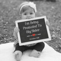 Baby Number 2 Announcement Photo Prop, 2nd Pregnancy Chalkboard Sign, Expecting Second Child, Due October 2016, Being Promoted To Big Sister by PrintsInspiredByMyah on Etsy