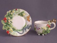 Porcelain Art Tea Cup & Saucer from… Tea Cup Set, My Cup Of Tea, Tea Cup Saucer, Tea Sets, Vintage Cups, Vintage Tea, Strawberry Kitchen, Teapots And Cups, Teacups