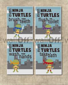 "Teenage Mutant Ninja Turtles Bathroom Art Prints - Set of 4 8x10 - ""Even Ninja Turtles Wash Their Hands, Flush the Toilet"" etc."