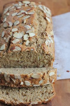 Slightly sweet and packed with flavor and tons of almonds, this Almond Wheat Bread is amazing! Slather on some butter and honey or some of your favorite jam. Muffin Recipes, Bread Recipes, Real Food Recipes, Baking Recipes, Dessert Recipes, Yummy Food, Desserts, Vegan Recipes, Scones