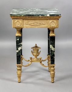 "Louis XVI Style Glit Bronze and Marble Lamp Table Ca1900 France. 30""H x 20""W x 20""D."