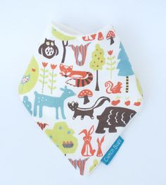 ORGANIC Bamboo Bandana Dribble Bib in Organic SWEDISH FOREST fabric - An eco-friendly gift idea from Cwtch Bugs via Etsy