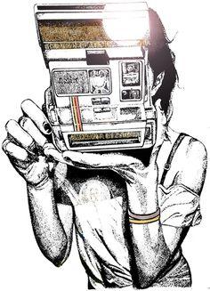 Photographs Taking - Polaroid Camera Illustration, Photography Illustration, Photo Illustration, Art Photography, Camera Drawing, Camera Art, Fantasy Drawings, Polaroid Pictures, Behance