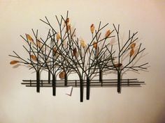 Living Room Wall Decor | Cheap Way: Use Artwork, No Painting -  metal tree wall art autumn