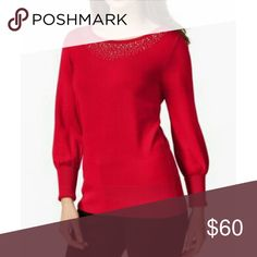 Alfani Embellished Sweater 80%  rayon, 20/ nylon  Boat neck Embellished Alfani Sweaters