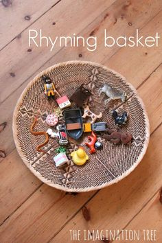 Rhyming basket literacy activity for kids.