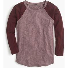 J.Crew Marled Baseball T-Shirt ($57) ❤ liked on Polyvore featuring tops, t-shirts, baseball shirts, j crew t shirts, three quarter sleeve baseball shirts, brown t shirt and loose tee