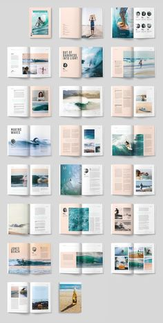 WAVERIDER - A modern, minimal, magazine, folio or brochure InDesign template. This layout has been designed as a Surfing magazine, but could easily be turned into any sort of sport or adventure theme. AND US… design Brochure Indesign, Design Brochure, Brochure Layout, Brochure Template, Indesign Layouts, Flyer Template, Adobe Indesign, Layout Template, Page Layout Design
