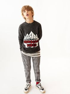 Image 2 of EMBROIDERED SWEATER from Zara Fashion Kids, Modern Fashion, Boys Wear, Boyish, Kind Mode, Baby Boy Outfits, Christmas Sweaters, Zara, Casual