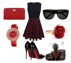 """""""red and black combination"""" by bosniamode ❤ liked on Polyvore featuring Christian Louboutin, Dolce&Gabbana, Yves Saint Laurent, Oscar de la Renta and bürgi"""