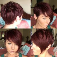 Easy Short Hair Updos That Will Take Eight Minutes or Less – HerHairdos Short Red Hair, Short Hair Updo, Hair Color And Cut, Haircut And Color, Red Pixie Haircut, Short Pixie Haircuts, Short Hair Styles Easy, Short Hair Cuts For Women, Pixie Hairstyles