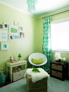 Cool greens make a great palette for a gender-neutral nursery: http://www.bhg.com/rooms/nursery/gender-neutral-nursery-makeover/?socsrc=bhgpin091114corneredin&page=3