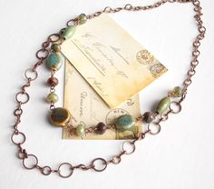 Double Strand Beaded Necklace Ceramic and Czech by BlueGypsyJewels