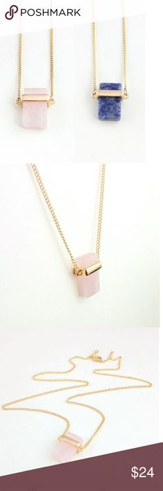 NEW!! Bailey Necklace in Faux Rose Quartz The Bailey necklace features a rectangular stone with a gold chain. Natural variations are expected but all stones are light pink. More stock and colors available with demand 😊 All purchases include a free gift! No trades! HAPPY POSHING! Jewelry Necklaces