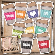 Free days of the week coffee cups - perfect in a smashbook