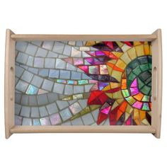 Floral Mosaic Serving Tray--notable the overlapping tiles.