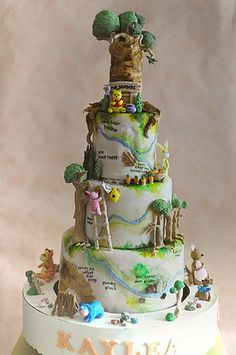 An absolutely over-the-top Winnie the Pooh birthday cake.