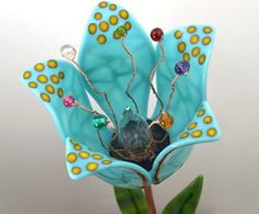 Art Glass Table Lamp / Fused Glass Flower Lamp / by WoodAndGlass