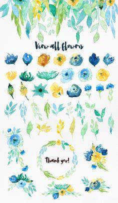 Sea Blue Flowers by Webvilla on @creativemarket