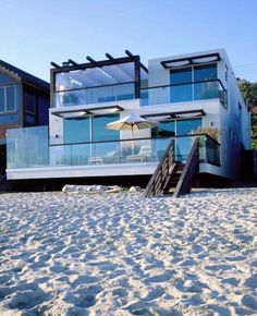 Architecture, Impressive Big Beach House Design With Many Glass Window And  Wooden Stairs At Front: Excelllent Modern Beach Homes Design Ideas With  Great ...