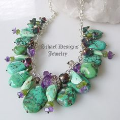 Schaef Designs Turquoise Gemstone & Sterling Silver Charm Necklace| Amethysts, peridot, tourmaline, turquoise, smokey topaz | Schaef Designs upscale artisan handcrafted southwestern, native american, turquoise, bridle rosette & totem animal jewelry | online jewelry gallery |  New Mexico