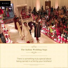 A traditional ritual, carrying the bride in 'dolis' is still followed in Indian weddings.