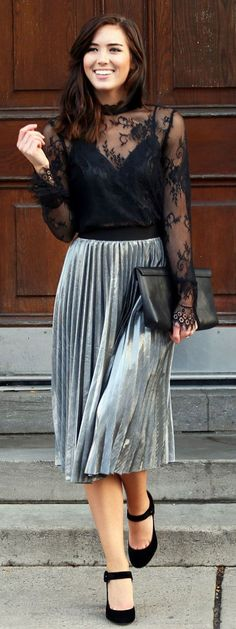 51 Classy Pleated Skirt Outfit Ideas For Fall You Should Already Own - Metallic Skirt Outfit, Pleated Skirt Outfit, Silver Skirt, Skirt Outfits, Pleated Skirts, Velvet Pleated Skirt, Cardigan Outfits, Sheer Lace Top, Black Lace Tops