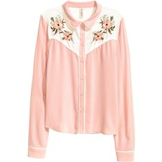 Bestickte Bluse 24,99 (£24) ❤ liked on Polyvore featuring tops, shirts, blouses, clothing - ls tops, shirt tops, pink top and pink shirts