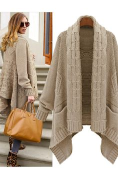 Chunky Khaki Cable Knit Asymmetric Scarf Cardigan. Perfect for Florida winter and Love the bag