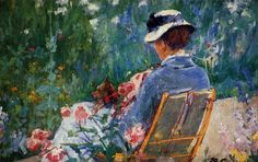 Lydia Seated in the Garden with a Dog in Her Lap, Mary Cassatt (1844-1926). Description from pinterest.com. I searched for this on bing.com/images