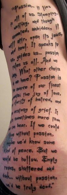 "Narration by Angelus (David Boreanaz) ""Passion""  (Season 2) Buffy the Vampire Slayer tattoo"