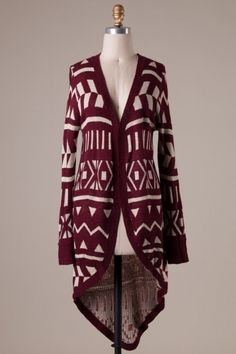 Long sleeves no button tribal pattern high low knitted cardigan