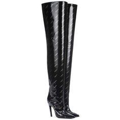 Balenciaga Knife Over-the-Knee Leather Boots ($2,015) ❤ liked on Polyvore featuring shoes, boots, black, leather boots, over-knee boots, balenciaga boots, real leather boots and black above the knee boots
