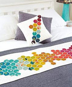 Modern hexies bed runner and cushion by Nicole Daksiewicz for issue 18 of Love Patchwork & Quilting