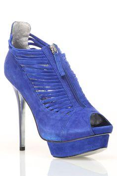 Bebe Joyous Shoe In Blue Suede $99.99 {Beyond the Rack}