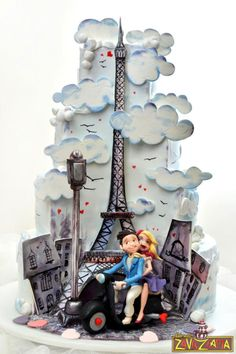 Paris Wedding Cake - Cake by Nasa Mala Zavrzlama - For all your cake decorating… Paris Themed Cakes, Paris Cakes, Themed Wedding Cakes, Wedding Cake Decorations, Wedding Cake Designs, Wedding Ideas, Gorgeous Cakes, Pretty Cakes, Cute Cakes