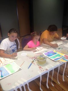 7/26/15.  Monticello's Erin's art camp encompassed the exploration of watercolor and acrylic. We experimented with different techniques and textures...and we had fun doing it! Making beautiful branches... such concentration! Very admirable!