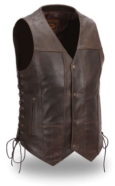 Mens 10 Pocket Brown Leather Motorcycle Vest by First Mfg. www.mymotorcycleclothing.com
