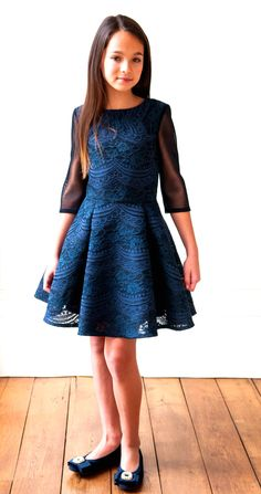 52da982e99e4 David Charles Navy lace Overlay Tween Party Dress 11 12 15 Girls Party Dress