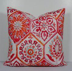 Moroccan Tile - Decorative pillow cover - Indoor/outdoor - Designer Throw Pillow - ikat - orange-raspberry-aqua