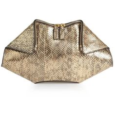 Alexander McQueen De Manta Small Metallic Snakeskin Clutch (14.489.590 IDR) ❤ liked on Polyvore featuring bags, handbags, clutches, apparel & accessories, gold, alexander mcqueen clutches, snake skin purse, convertible handbag, metallic clutches and alexander mcqueen