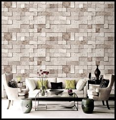 Korea wallpaper gray / brown Chinese retro bump texture ultra-realistic imitation brick wall living room TV background wallpaper