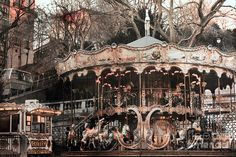 Paris Photography, Carousel Merry Go Round, Paris Sepia Photo Prints, Paris Carousel Sacre Coeur, Paris Montmartre Carousel Horses Photo Merry Go Round Carousel, Paris Couture, Abandoned Theme Parks, Abandoned Places, Tableaux Vivants, Vacations To Go, Paris Photography, Carousel Horses, Horse Photos