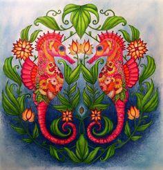 From the book Lost Ocean | Ocean Perdu by Johanna Basford || Coloring : Annick Philibert || Tools : Prismacolor Scholar and Premier, hard pastels, markers. || #OceanoPerdido #LostOcean #OceanPerdu