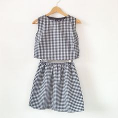 Organic cotton gingham two piece set Coord skirt by keeboutique