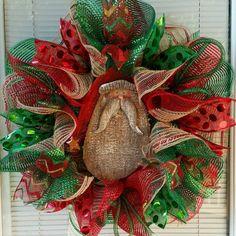 Christmas Wreath Holiday Wreath Santa Wreath by WreathsByRobyn