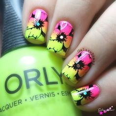Neon Mediocre stamping, but going to share anyway. | ●Orly 'beach cruiser' & 'glowstick' ●@faburnails Fun13 image plate