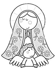 Modern Virgin Of Guadalupe coloring pages virgencita our lady printabled pages Coloring Book Art, Colouring Pages, Adult Coloring, Catholic All Year, Catholic Crafts, Religious Art, Communion, Embroidery Patterns, Quilts