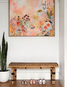 HK Living rattan bench seat with black detailing. Artwork 'Amber Glow' purchased from The Colour English. Plant is a Mother-In-Law's tongue in a Toast & Honey white pot. Photo – Caitlin Mills for The Design Files. Interior Design Tips, Interior Inspiration, Interior Decorating, Decorating Ideas, Inside A House, Amber Interiors, Décor Boho, The Design Files, Rattan Furniture