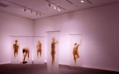 Oscar Muñoz Cortinas de Baño (Shower Curtains) , 1994 Acrylic on plastic, five curtains 74 x 28-1/2 inches, 73 x 28 inches, 72 x 26-1/2 inch...